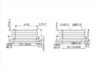 図面画像 F04型 横板 木調 ルシアスフェンス YKKAP