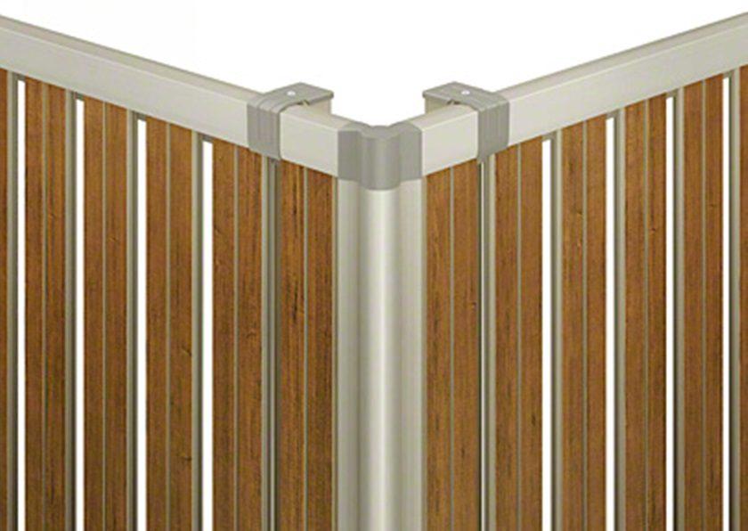 フェンス拡大画像 F03型 たて半目隠し 木調 ルシアスフェンス YKKAP