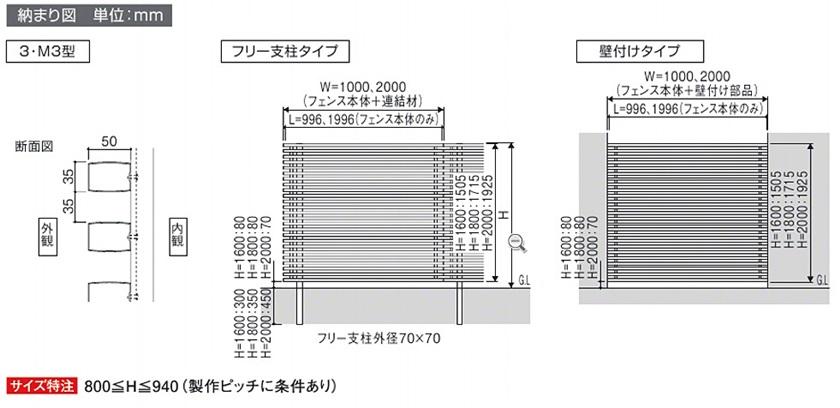 図面画像 M3型 片面 木調横細格子 高尺タイプ エルファード 三協アルミ