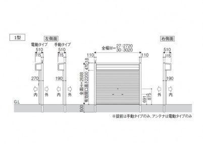 図面画像 1型 手動式シャッターゲート三協アルミ