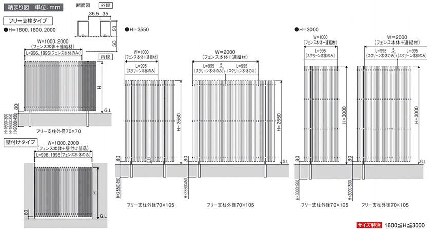 図面画像 エルファード片面 M1型 木調たて格子 高尺タイプ 三協アルミ