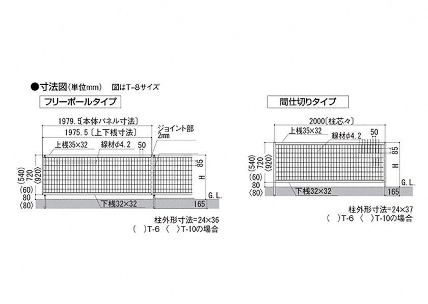 図面画像 LIXIL アルメッシュフェンス1型