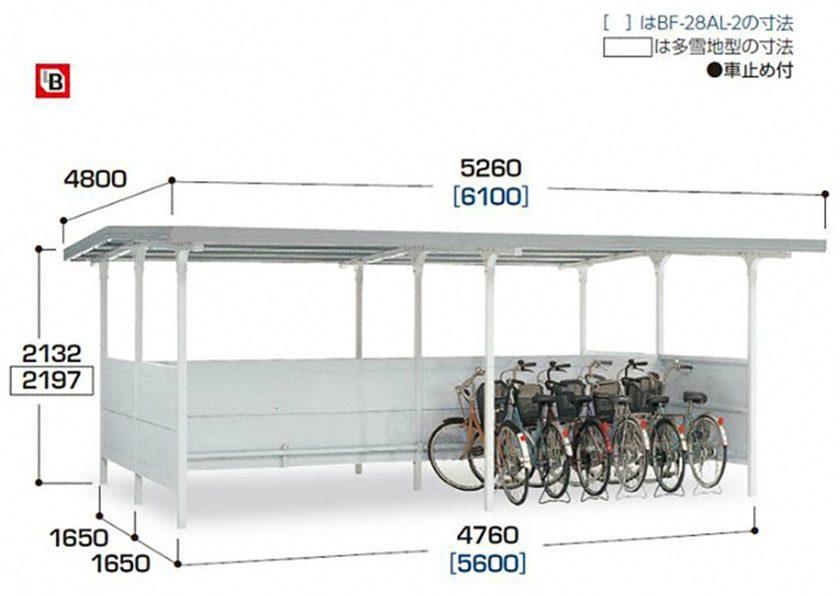図面画像 BF棟合わせタイプ 2連続タイプ 一般型 イナバ自転車置場