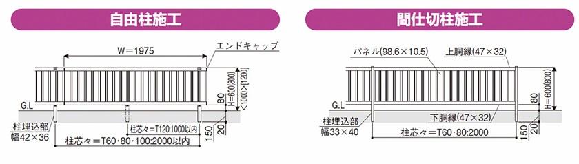 図面画像 F01型 たて目隠し 木調 ルシアスフェンス YKKAP