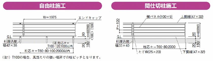 図面画像 F02型 横目隠し 木調 ルシアスフェンス YKKAP