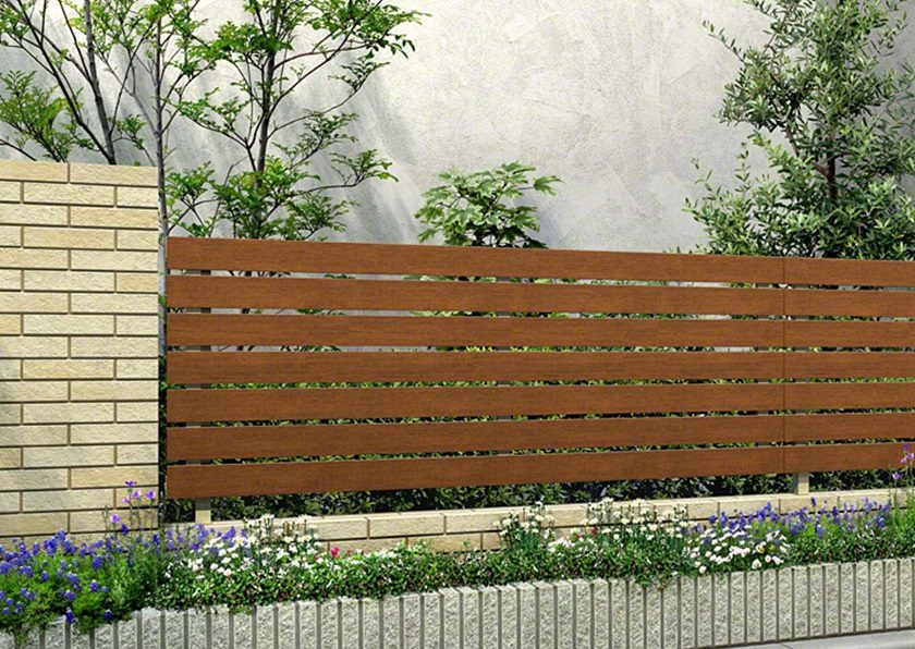 キャラメルチーク 木調 H02型 横板格子 ルシアスフェンス YKKAP