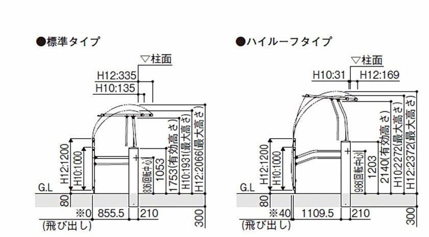 図面画像 1型 横格子 電動 ルシアスアップゲート YKKAP