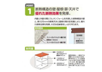 ポイント1 ヨド物置 エポミニ 断熱構造