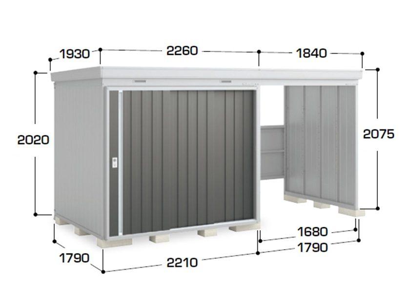 サイズ画像 左扉タイプ ネクスタウィズ 一般型イナバ物置