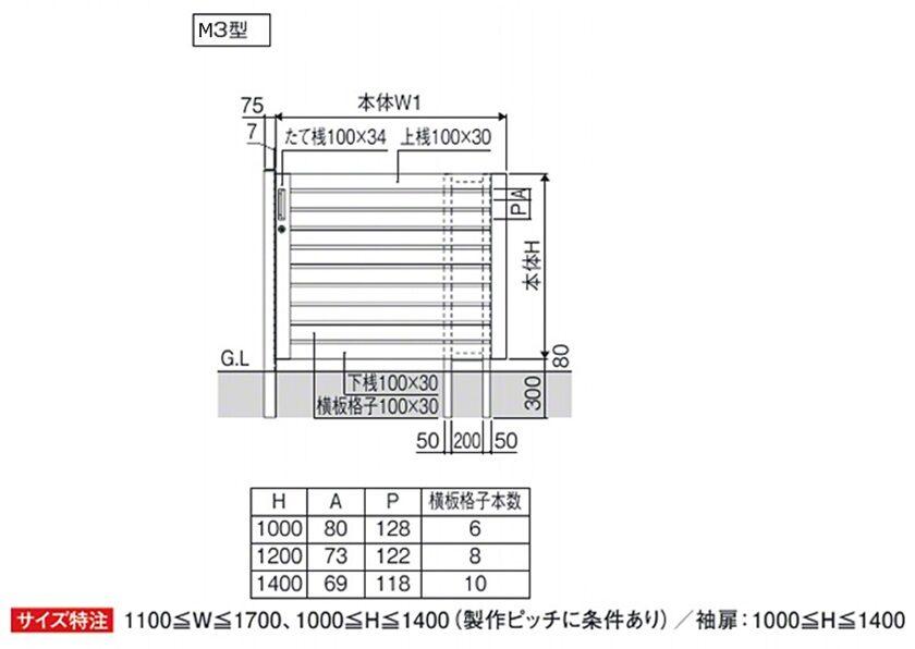 図面画像 M3型 袖扉なしタイプレナード 三協アルミ