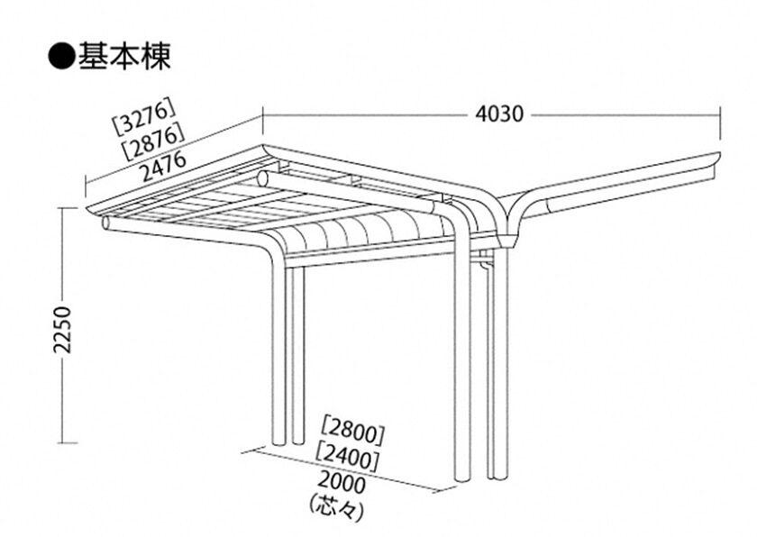 図面画像 YOCF背合せタイプ 基本棟 一般地用 ヨドコウ ヨド自転車置場