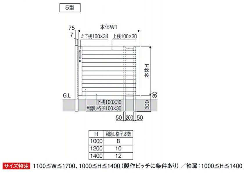 図面画像 M5型 袖扉なしタイプレナード 三協アルミ