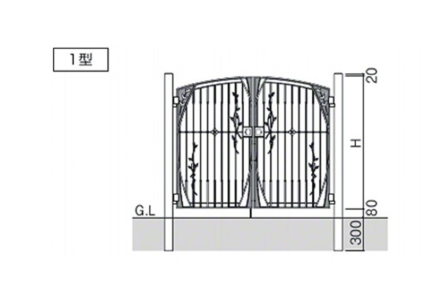 図面画像 ハーベリー1型 両開き 三協アルミ
