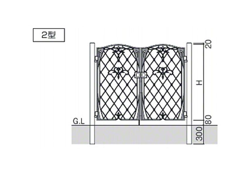 図面画像 2型 両開き ハーベリー 三協アルミ