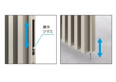 外部から落とし棒を持ち上げることができないロック機能付きで、門扉の下面からのはみ出しのない収納タイプとなっております。