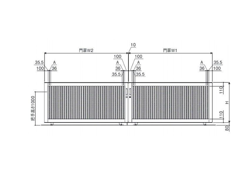 図面画像 両引きタイプ 4型 ラグード 三協アルミ